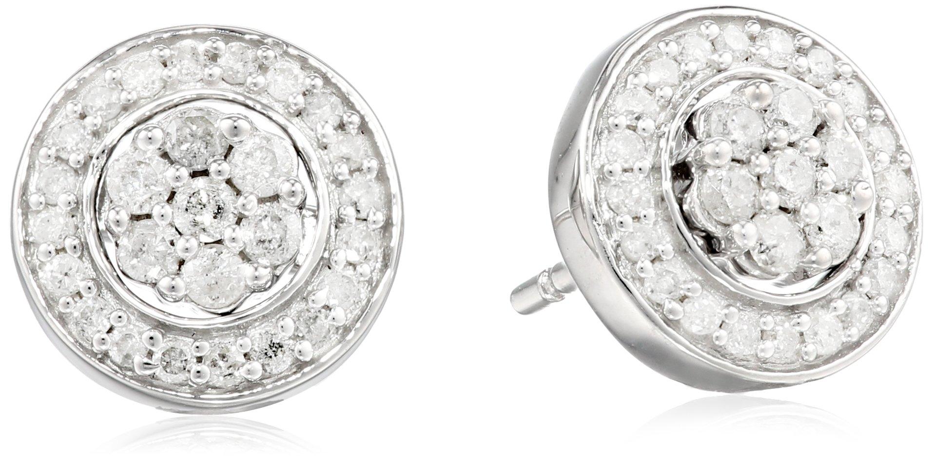 Sterling Silver Diamond Cluster Jacket Stud Earrings (1/2 cttw)