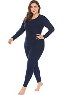 b49f67a79fa In voland Women s Plus Size Cotton Thermal Underwear Long Johns Set Solid  Top   Bottom