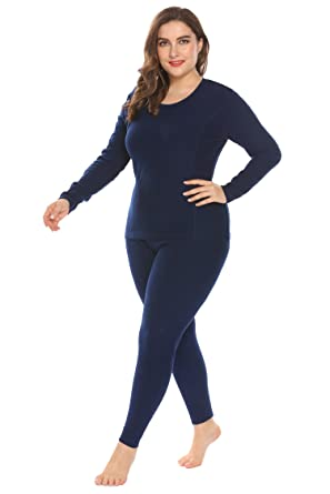 e0559e1bc0b Women s Plus Size Cotton Thermal Underwear Long Johns Set Solid Top    Bottom Fleece Lined