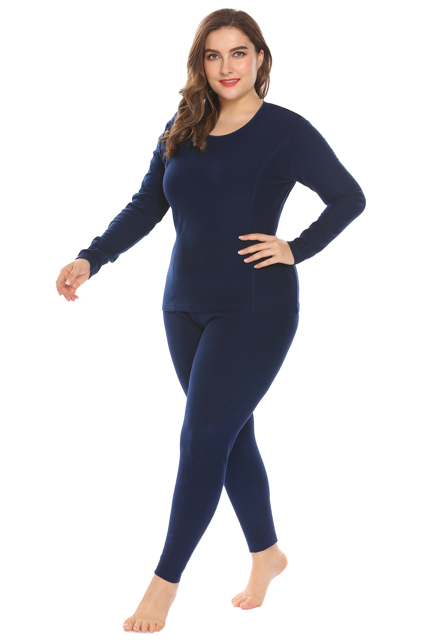 In'voland Women's Plus Size Cotton Thermal Underwear Long Johns Set Solid Top & Bottom Fleece Lined,Champlain Blue,20W/3XL
