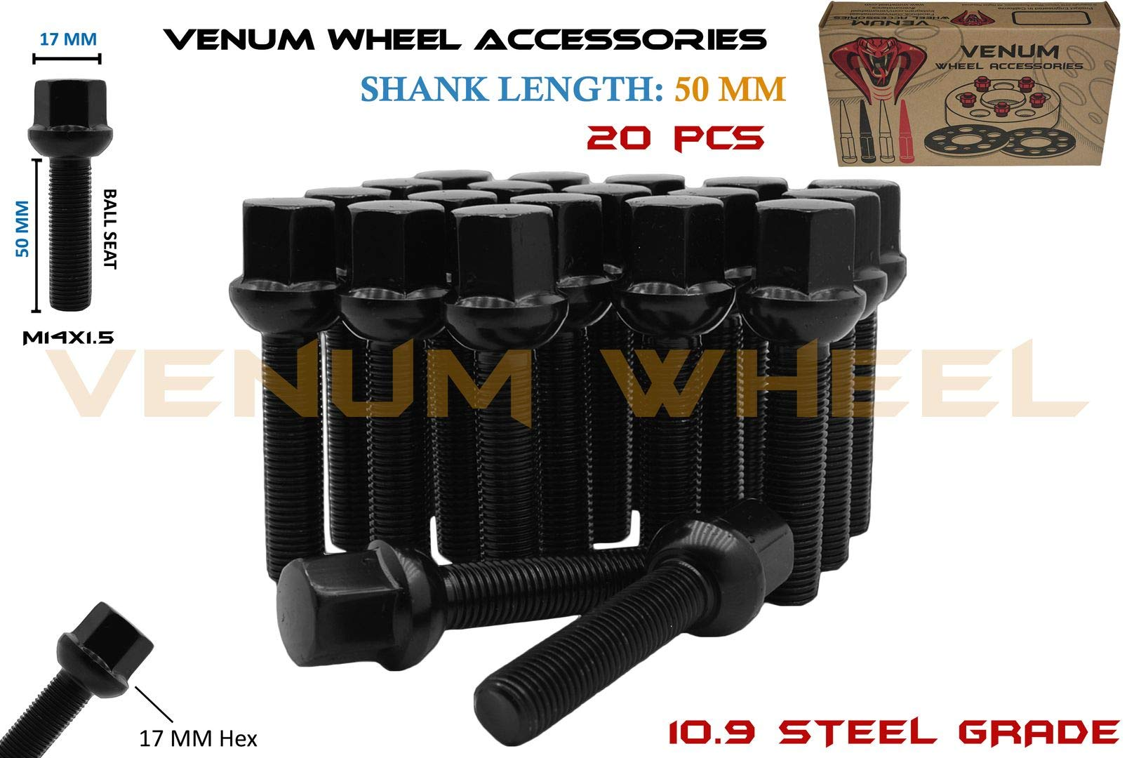 Venum wheel accessories 20Pc Black Powder Coated M14x1.5 Ball Seat Lug Bolts 50 mm Extended Shank Length Radius Works with Volkswagen Audi Mercedes Benz Porsche Vehicle W/Factory Wheels by Venum wheel accessories