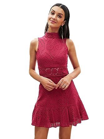 fdfba9824ae9 Missy Chilli Damen Minikleid Sommer Elegant Rüsche Ärmellos O Ausschnitt  Spitze Midikleid Dress Kleid Rot