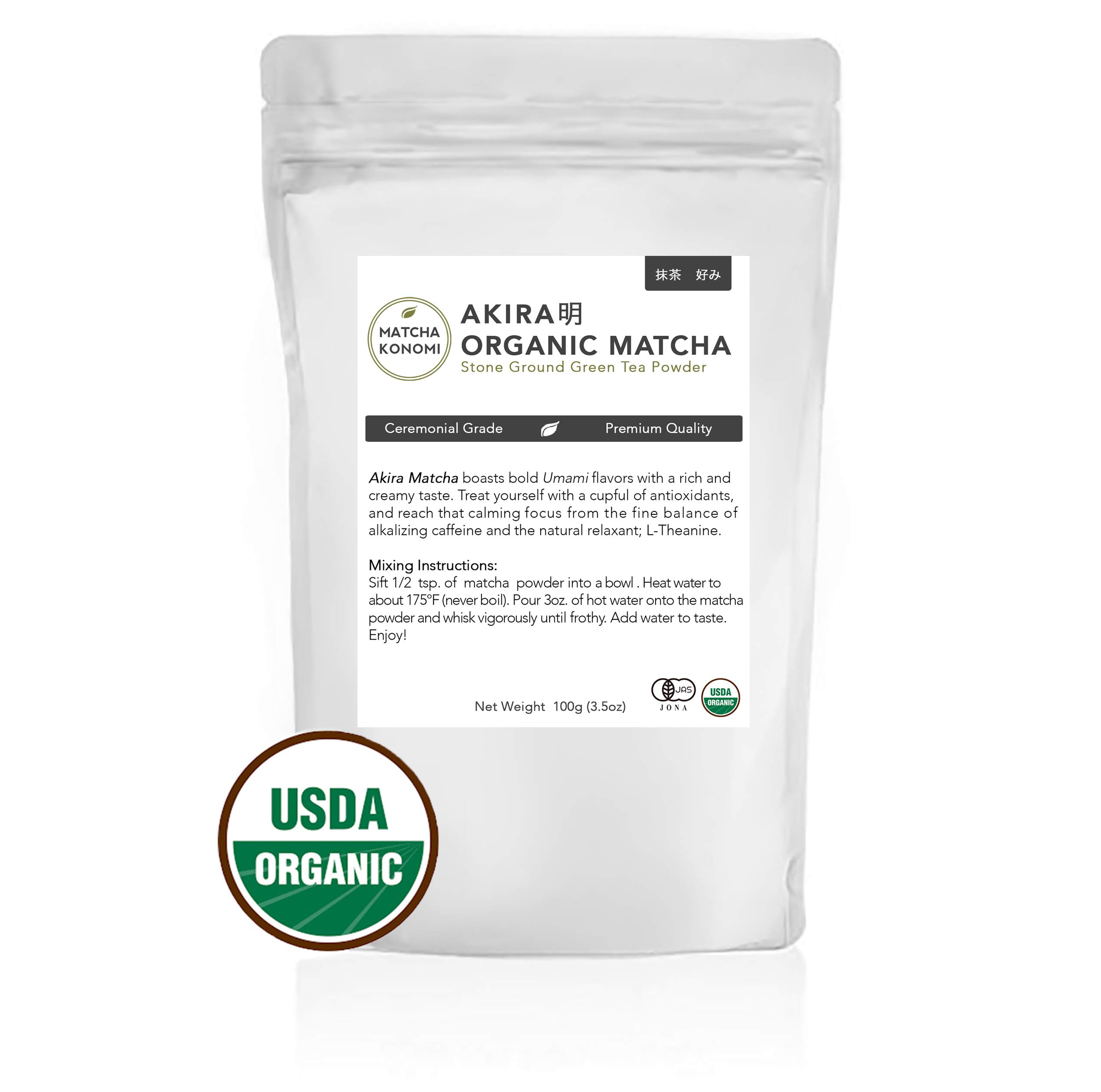 Akira Matcha 100g - Organic Premium Ceremonial Japanese Matcha Green Tea Powder - First Harvest, Radiation Free, No Additives, Zero Sugar - USDA and JAS Certified (3.5oz bag) by Matcha Konomi