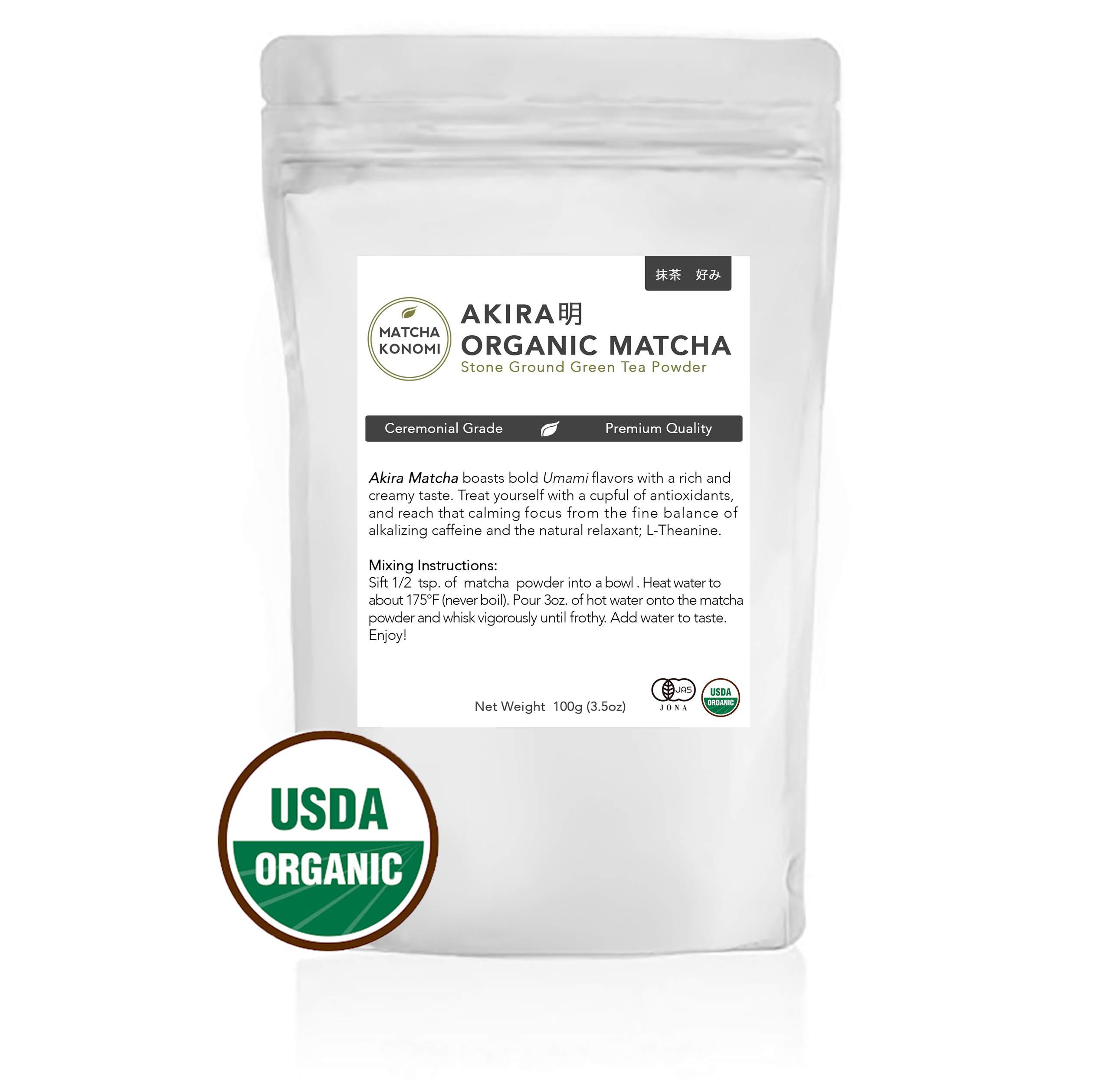 Akira Matcha 100g - Organic Premium Ceremonial Japanese Matcha Green Tea Powder - First Harvest, Radiation Free, No Additives, Zero Sugar - USDA and JAS Certified(3.5oz bag)