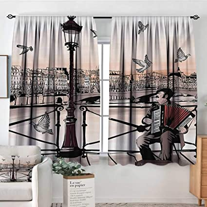 Elliot Dorothy Blackout Curtains Music Accordionist Playing Paris Street Urban European Famous City Panorama Graphic Scene Peach Brown For Room Darkening Panels For Living Room Bedroom 42 X45 Amazon Co Uk Kitchen Home