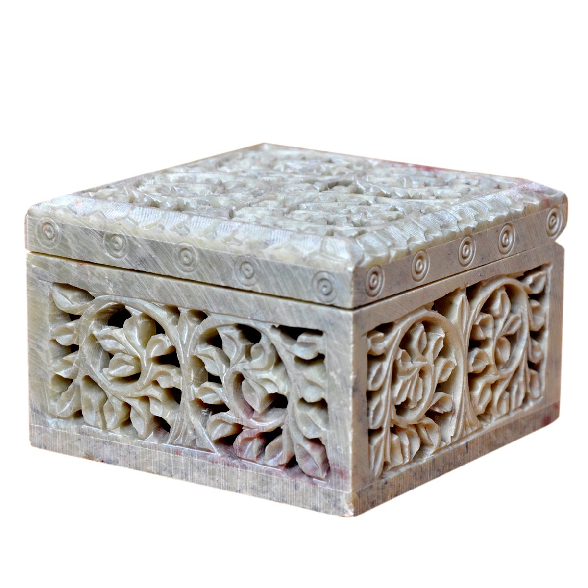 Hashcart Indian Artisan, Handmade & Handcrafted Stone Jewelry Box/Jewelry Storage Organizer/Trinket Jewelry Box/Gift Box with Traditional Design by Hashcart (Image #2)