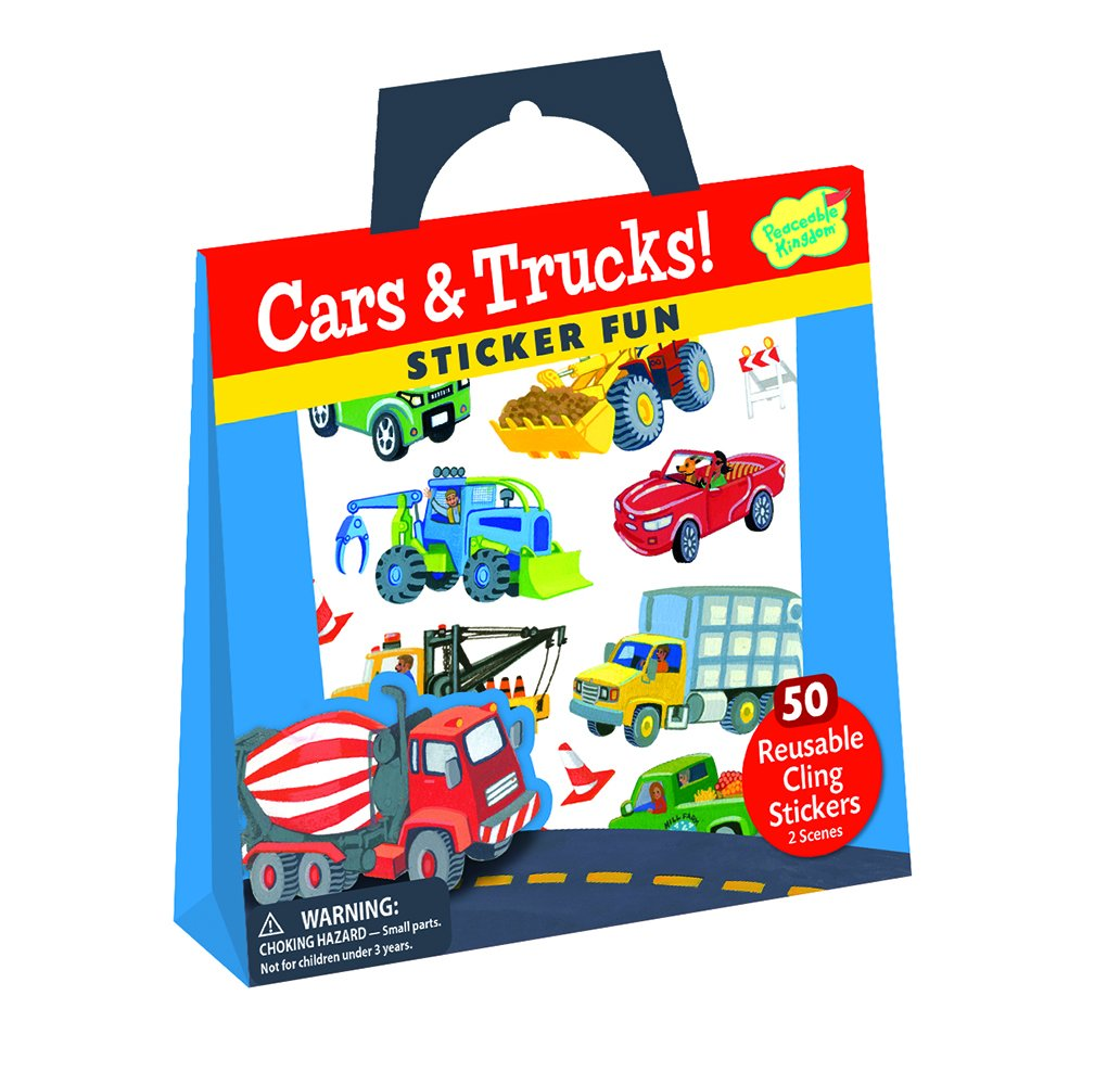 Peaceable Kingdom Sticker Fun Cars and Trucks Reusable Sticker Tote