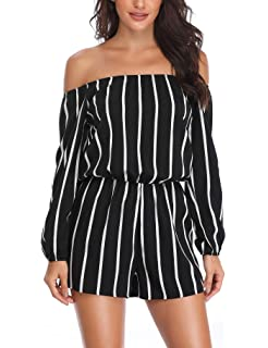 10619614699f MISS MOLY Women  s Summer Off The Shoulder Rompers Strapless Boat Neck 3 4