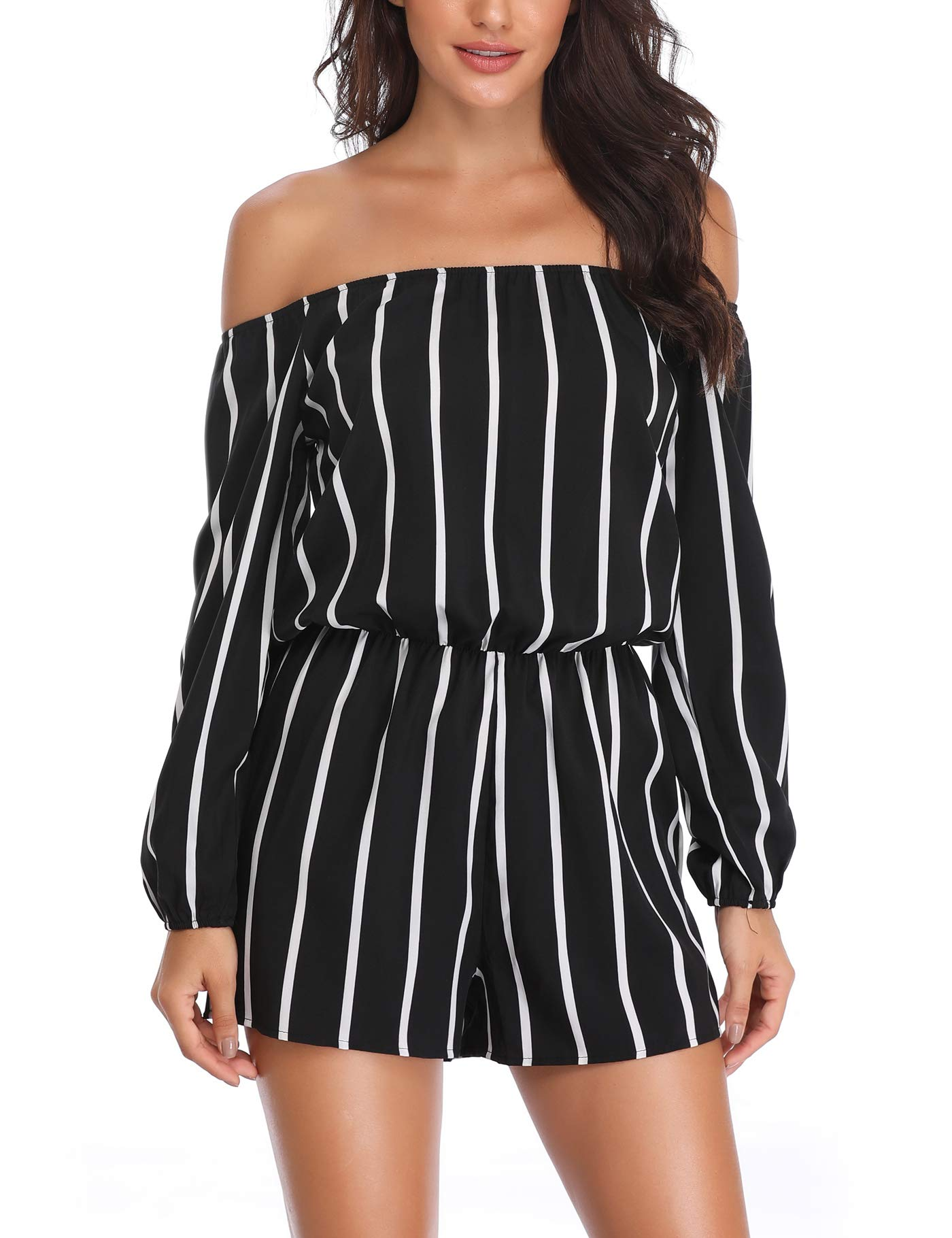 MISS MOLY Women Rompers and Jumpsuits Off The Shoulder Strapless Boat Neck Shorts with Belt by MISS MOLY (Image #1)
