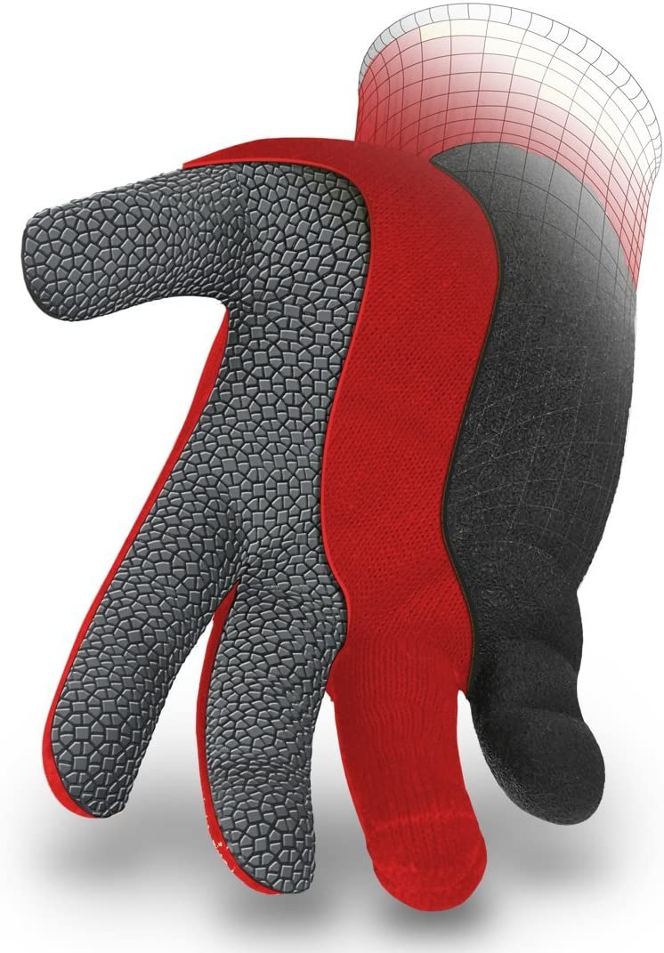 HexArmor 9011-M Level 6 Series SuperFabric Cut Resistant Gloves with Wrinkle Rubber Palm Coating Medium Red//Black