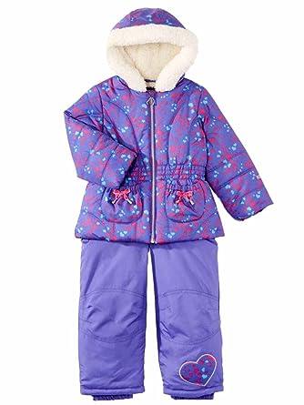9edb14194 Amazon.com: Pacific Trail Infant & Toddler Girls Purple Heart Snowsuit Ski  Bibs & Coat Set: Clothing