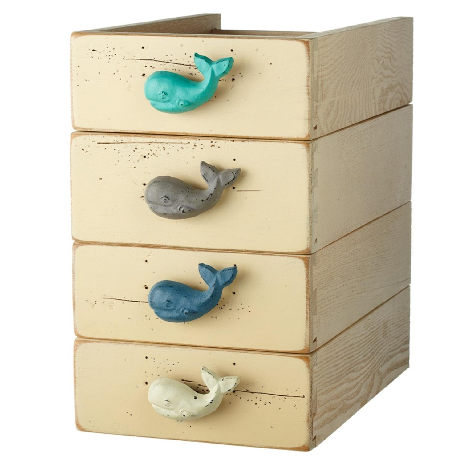 Diva At Home Set of 12 Aqua Green and Blue Whale Shaped Decorative Table Knob 3''
