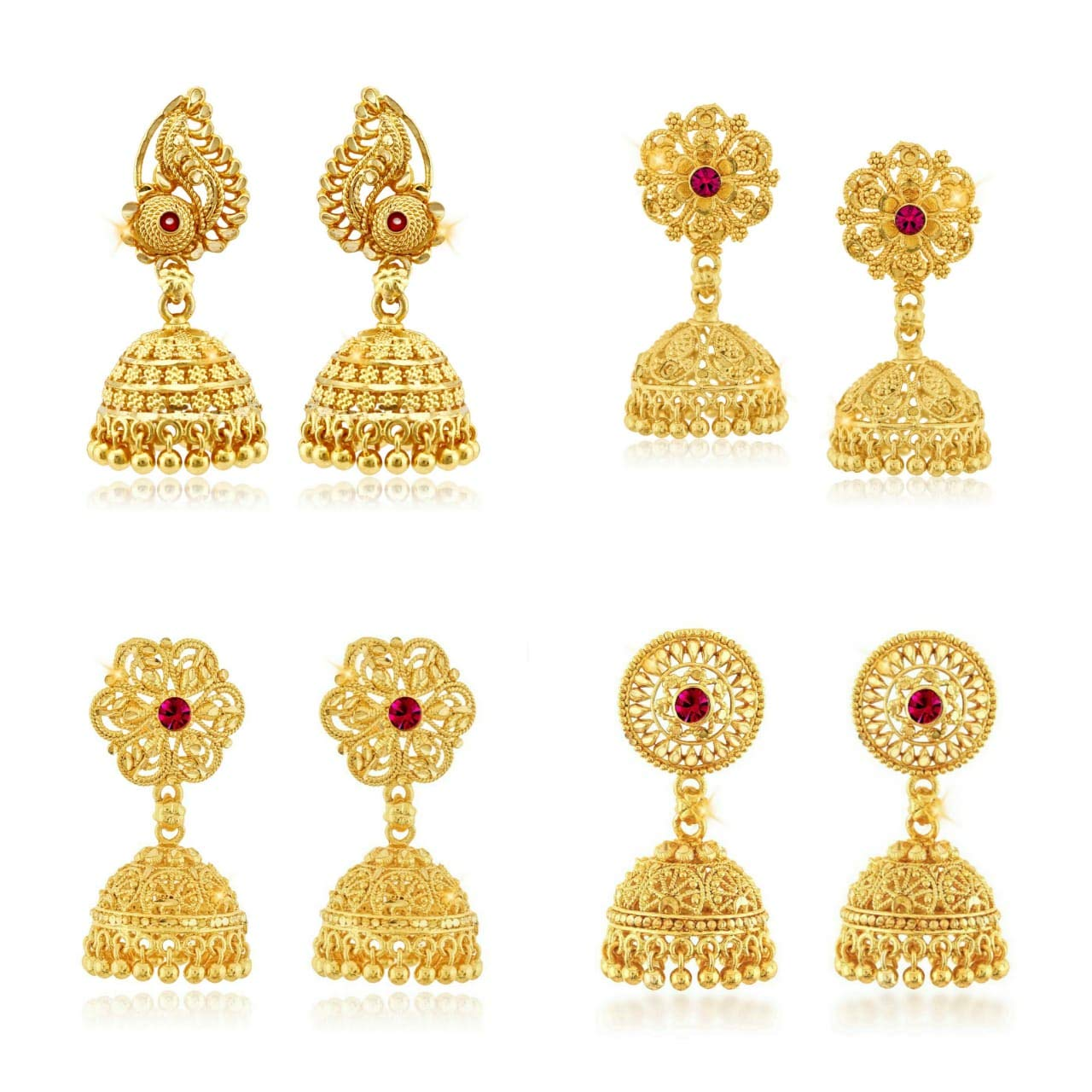 Gold Plated alloy Jhumki Earring Combo set for Women and Girls – (Pack of- 4 Pair Jhumka)