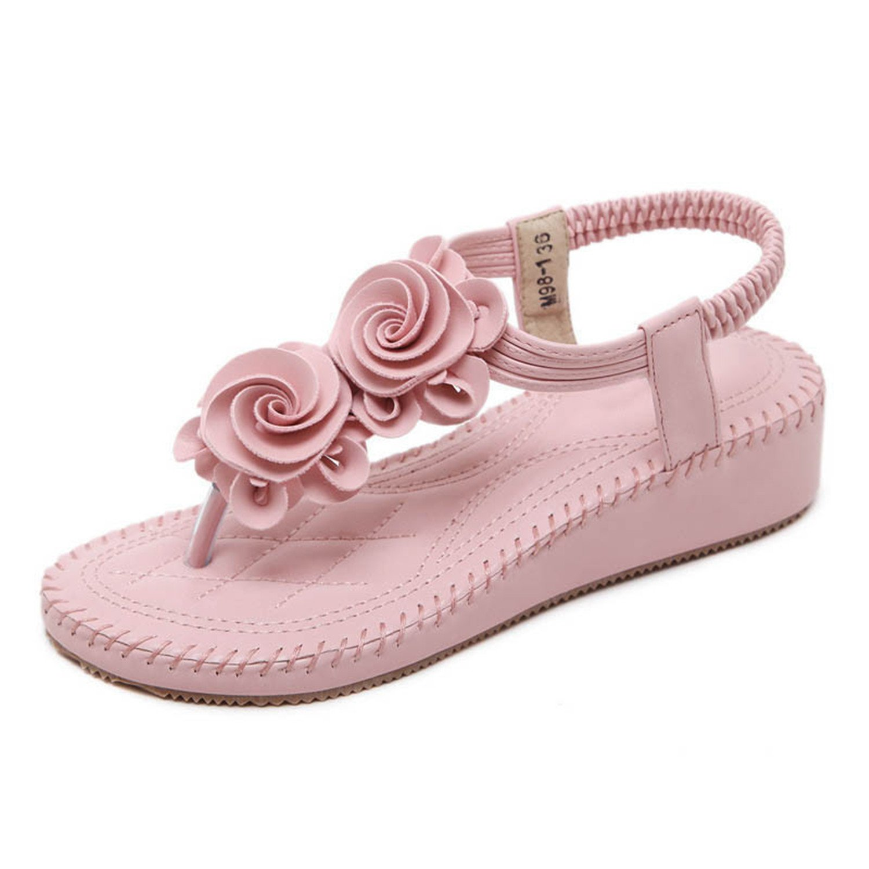 Henraly Flowers Sandals Women Newsummer Flip Flops Casual Platform Shoes Woman Elastic Band Slip on Wedges Beach Sanda B07BVJC3GX 9 B(M) US|Pink