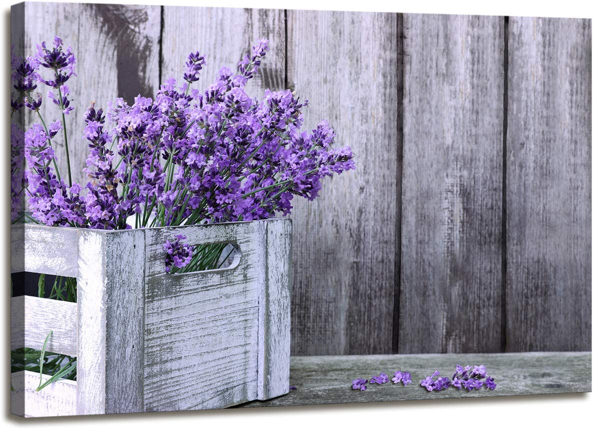 Wall Art for Living Room Rustic Home Decor Canvas Wall Art - Purple Lavender Flowers on Vintage Wood Background Modern Living Room/Bedroom Decoration Stretched and Ready to Hang