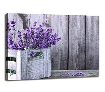 Wall Decor Rustic Home Decor Canvas Wall Art - Purple Lavender Flowers on  Vintage Wood Background Modern Living Room/Bedroom Decoration Stretched and  ...