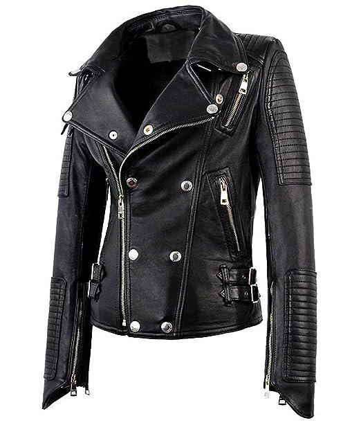 401d4ad0 Hemskin Womens Motorcycle Biker Bomber Black Real Leather Jackets Women