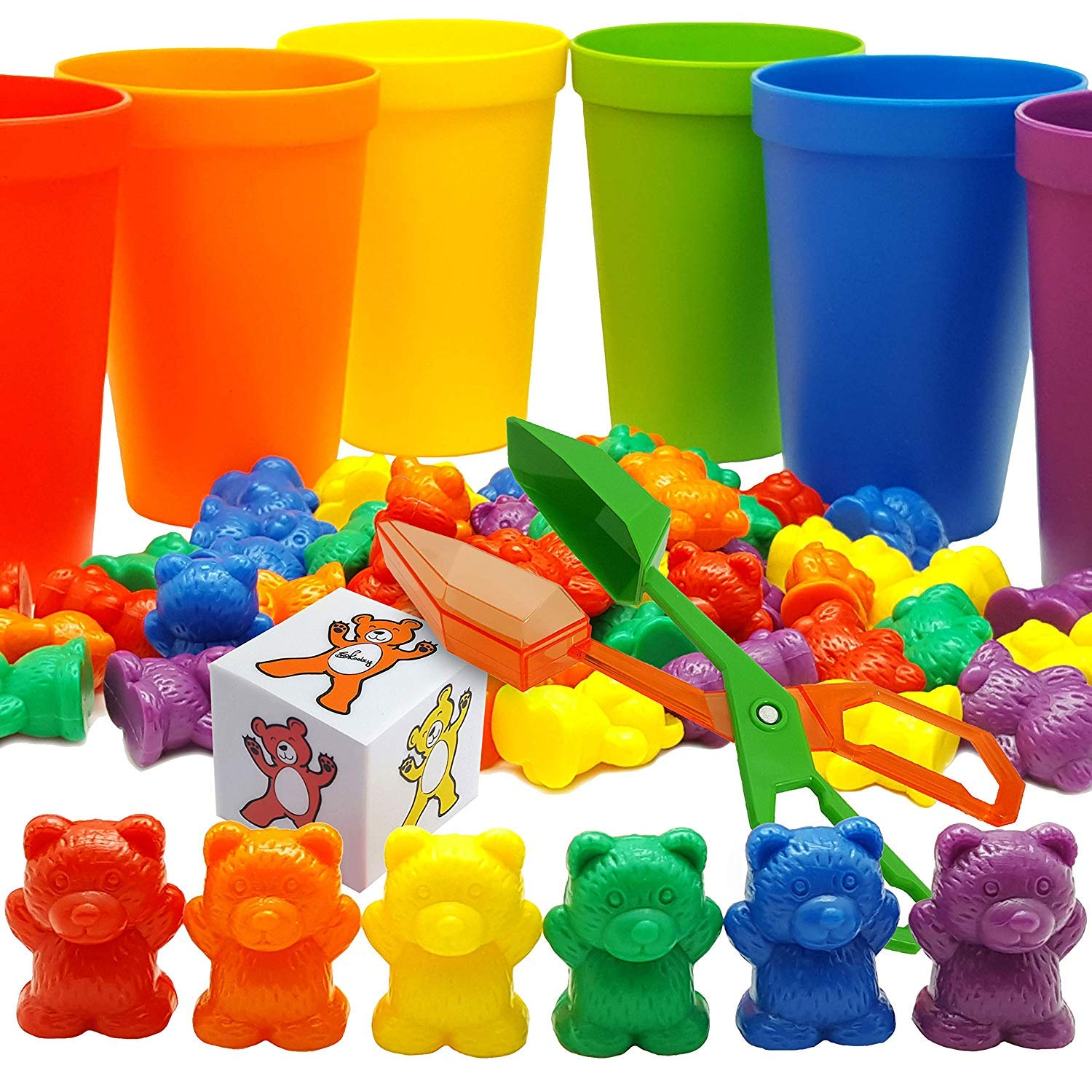 Skoolzy Rainbow Counting Bears with Matching Sorting Cups, Bear Counters and Dice Math Toddler Games 70pc Set - Bonus Scoop Tongs by Skoolzy