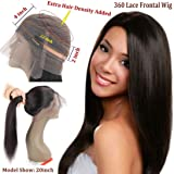 360 Frontal Lace Wig Straight 360 Lace Front Human Hair Wigs Peruvian Virgin 360 Lace Frontal Wig 130% Density with Pre Plucked Natural Hairline Baby Hair 360 Degree Lace Human Hair Wig