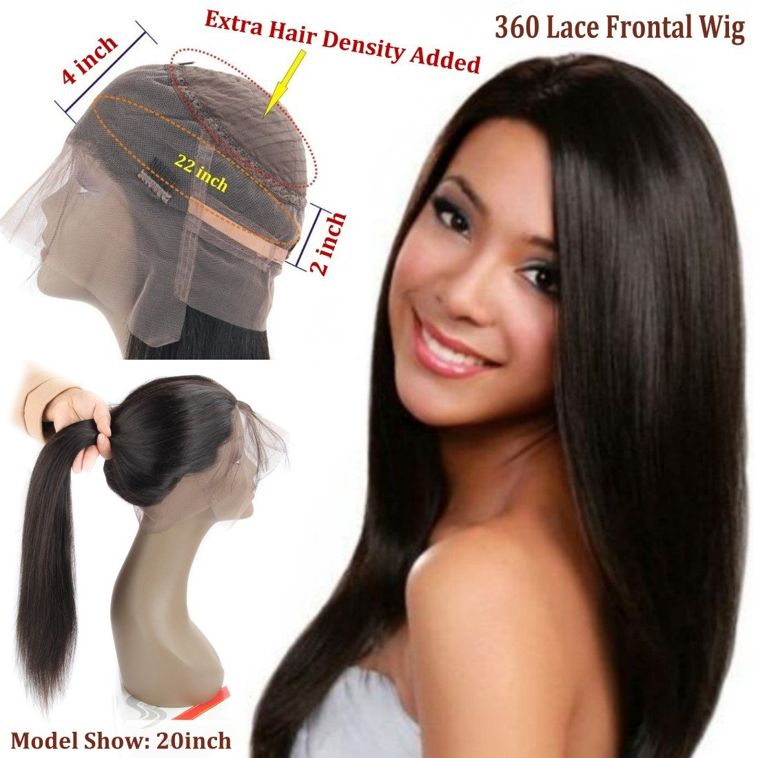 360 Frontal Lace Wig Straight 360 Lace Front Human Hair Wigs Peruvian Virgin 360 Lace Frontal Wig 130% Density with Pre Plucked Natural Hairline Baby Hair 360 Degree Lace Human Hair Wig (14inch) by QUEENA (Image #1)