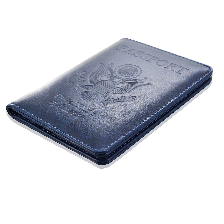 Passport Holder Cover, ACdream Travel Leather RFID Blocking Case Wallet for Passport, Dark Blue by ACdream (Image #8)
