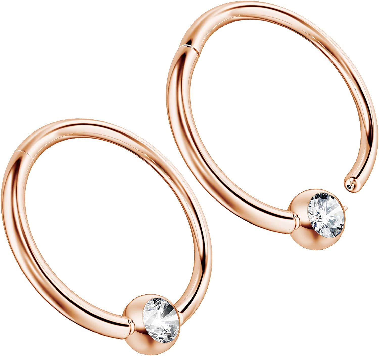 Helix Hoop Earring Cartilage Jewelry Silver Nose Ring with Gold Bead Nose Hoop