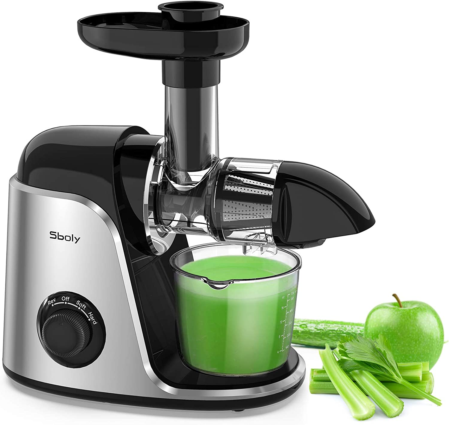 Sboly Juicer Machines, Slow Masticating Juicer Extractor with 2 Speed Modes & Reverse Function, BPA-Free Cold Press Juicer with Quiet Motor, Includes Cleaning Brush & Recipes for Vegetables and Fruits