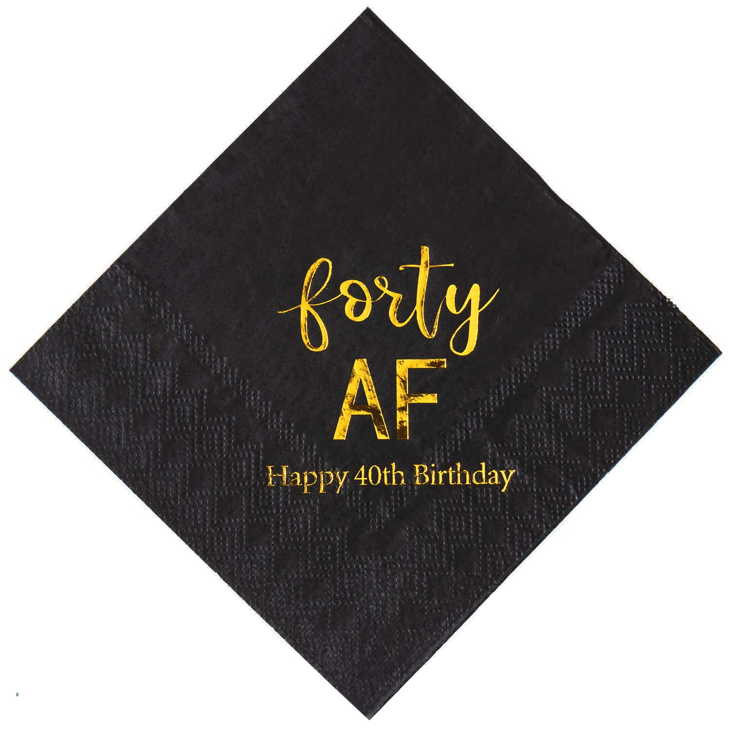 Crisky 40th Birthday Napkins Black Gold Forty AF 40th Birthday Cocktail Napkins Beverage Napkins 40th Birthday Party Candy Table Decoration, 100 Count, 3-Ply by crisky