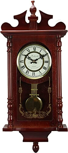 Bedford Clock Collection Pendulum and Chime Wall Clock, 25 Inch, Redwood Finish