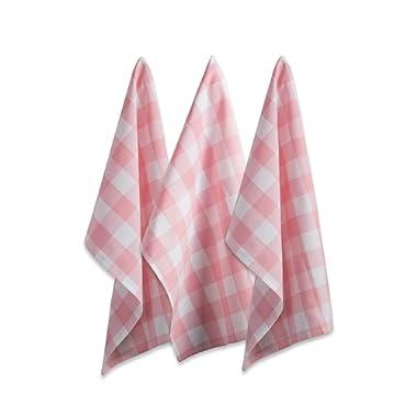 DII Oversized Kitchen Pink Buffalo Check Dishtowel (Set of 3), Pink and White Buffalo Check