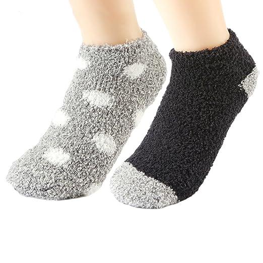 0451aa2a9f376 Girls Cozy Slipper Socks Plush Soft Kids Warm Fuzzy Crew Socks Warm ...