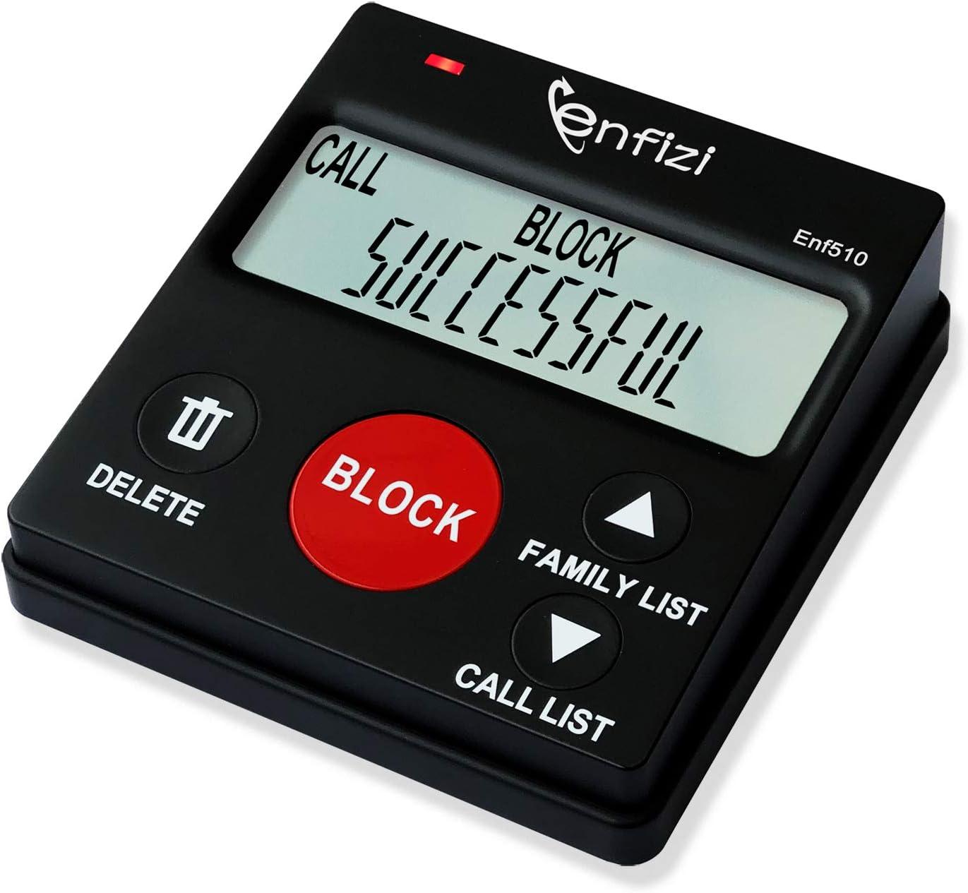 Enf510 Call Blocker for Landline Phones/Answering Machine/Home Cordless Phones,Spam Calls Blocker, Family Function, Caller ID Box