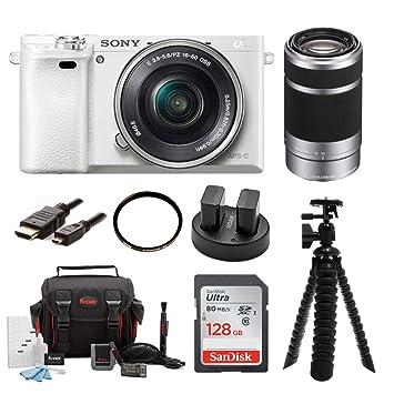 Amazon.com: Sony Alpha A6000 Cámara Sin Espejo (Blanco) W ...