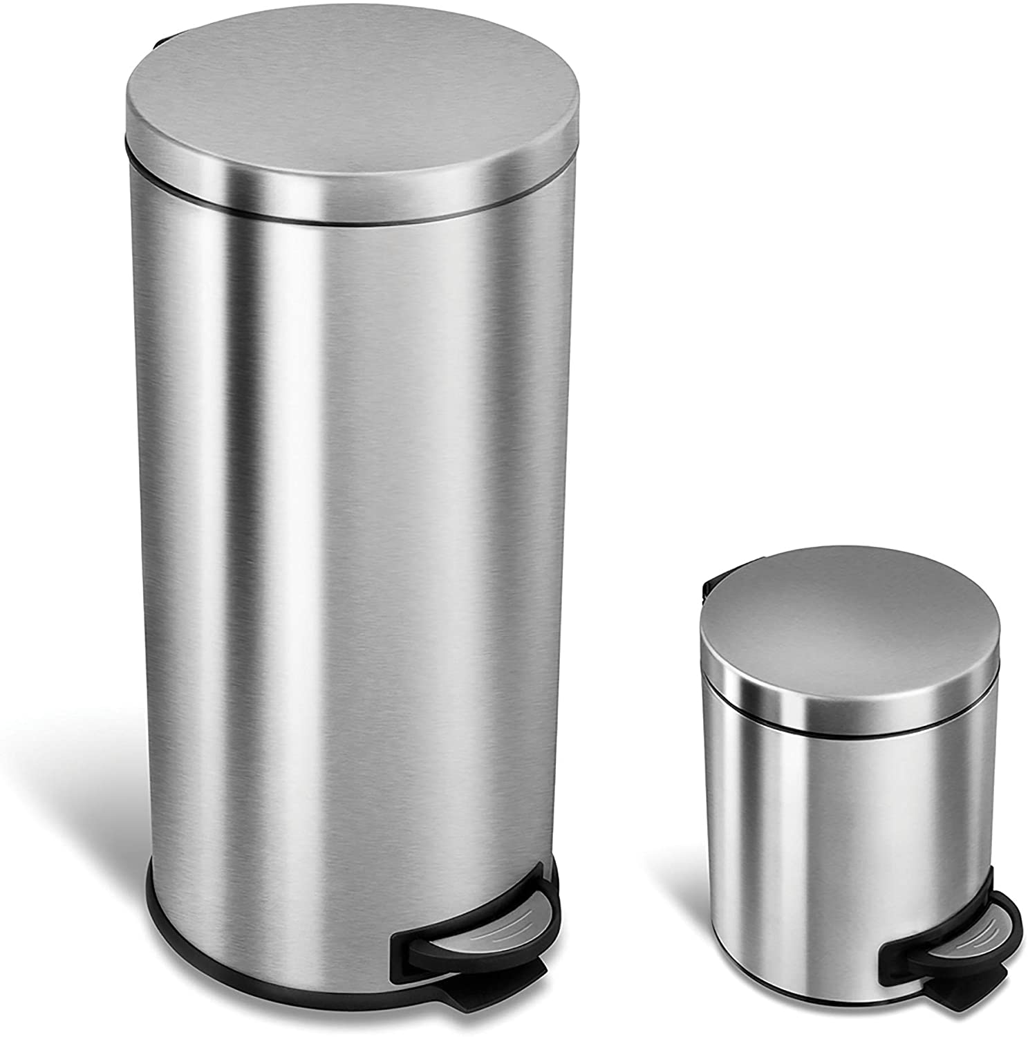 Ninestars Cb Sot 30 1 5 1 Step On Trash Can Combo Set 8 Gal 30l 1 2 Gal 5l Stainless Steel Base Round Stainless Steel Lid Home Kitchen