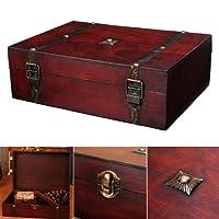 Lembeauty antico in legno desktop Storage box Household registro Credenziale Jewelry Tool organizer con fibbia in metallo