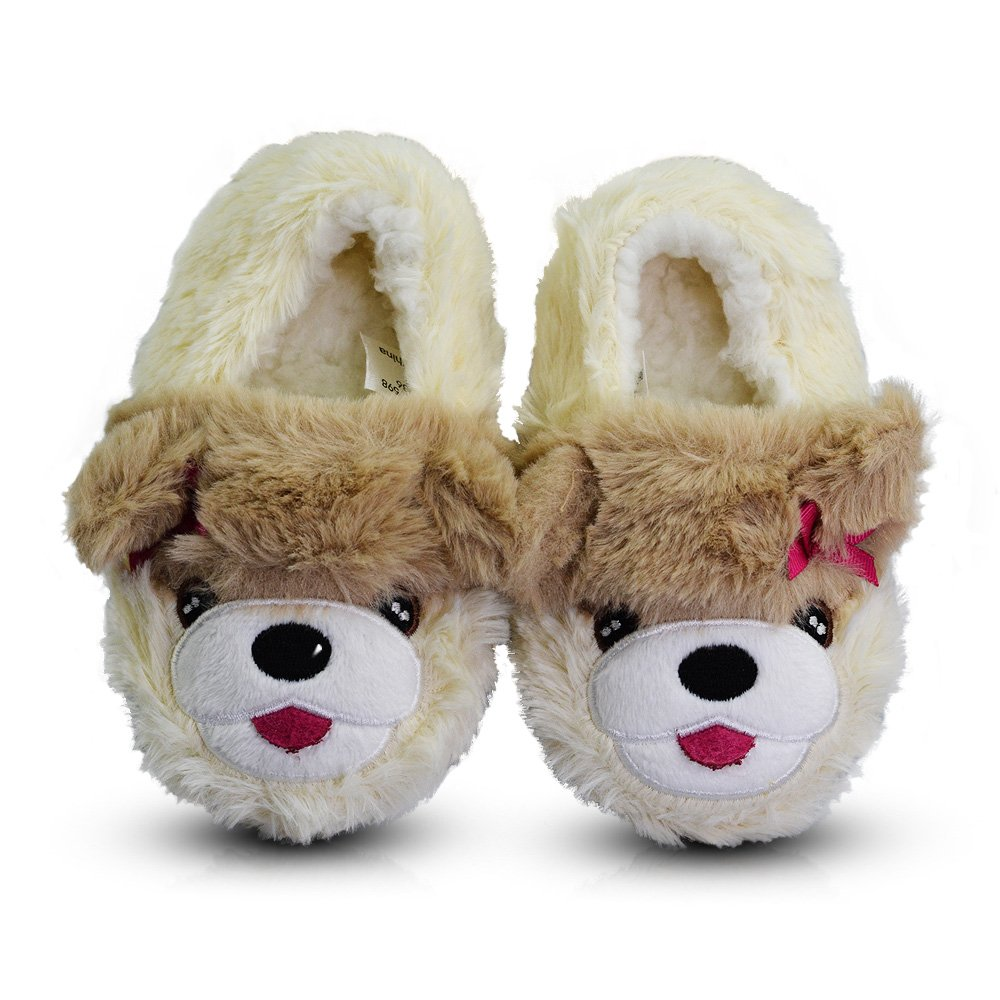 LA PLAGE Kids Premium Fleece Plush Pure Cotton Lining Doggy Slippers Warm Cozy Cute Home Shoes for Boys Girls and Baby 7 M US Cream