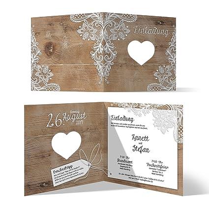 release date: 6b13f 10ea8 Lasergeschnittene Hochzeit Einladungskarten (20 Stück) - Rustikal mit  weißer Spitze - Hochzeitskarten