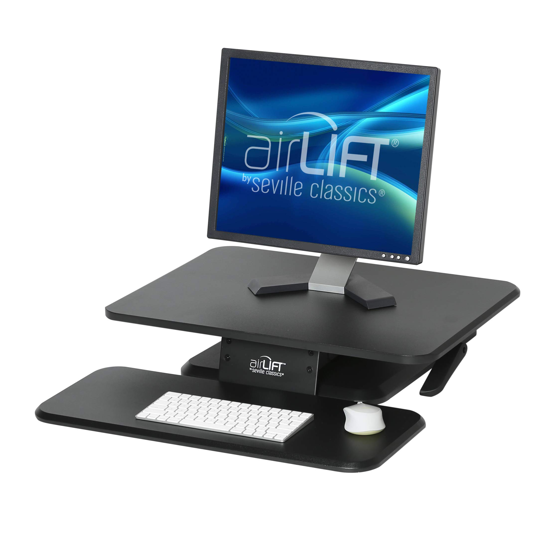Seville Classics OFF65864 AIRLIFT 25'' Gas-Spring Height Adjustable Standing Desk Converter Workstation Ergonomic Monitor Riser with Keyboard Tray, Compact, Black