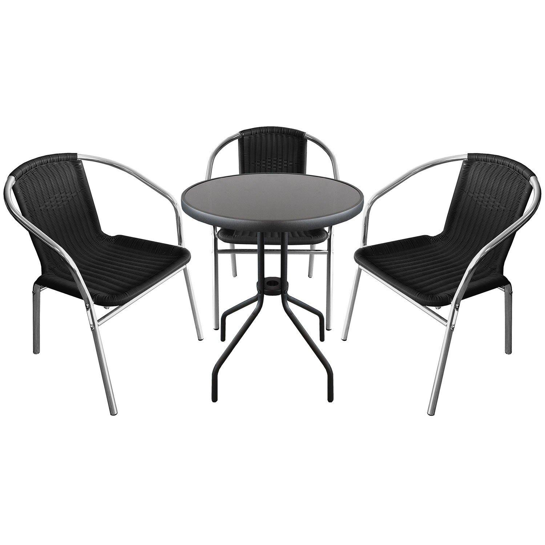 4-teilige Sitzgruppe Sitzgarnitur Glastisch Ø60xH71cm + 3x Aluminium Stapelstühle mit Polyrattanbespannung