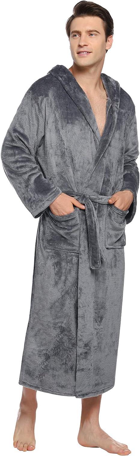 hohe Zuhause Mantel TaschenGroße und Kragen Nachthemd Flanell Langarm Nachtwäsche Morgenmantel mit Herren iClosam Leicht Bademantel Winter V Männer cARjqS345L