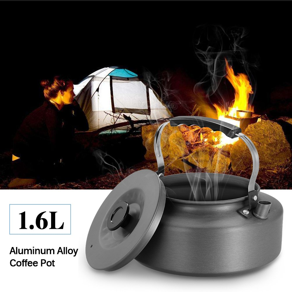 DuRone(TM) 1.6Lケトル水ポットティーポットコーヒーポット屋内ウィスアルミ合金ティーケトルアウトドア食器キャンプハイキングピクニックポット B07B3RN6SV