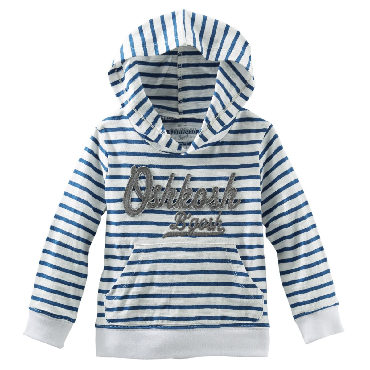 OshKosh Hooded Jersey Pullover Blue Stripe 24M