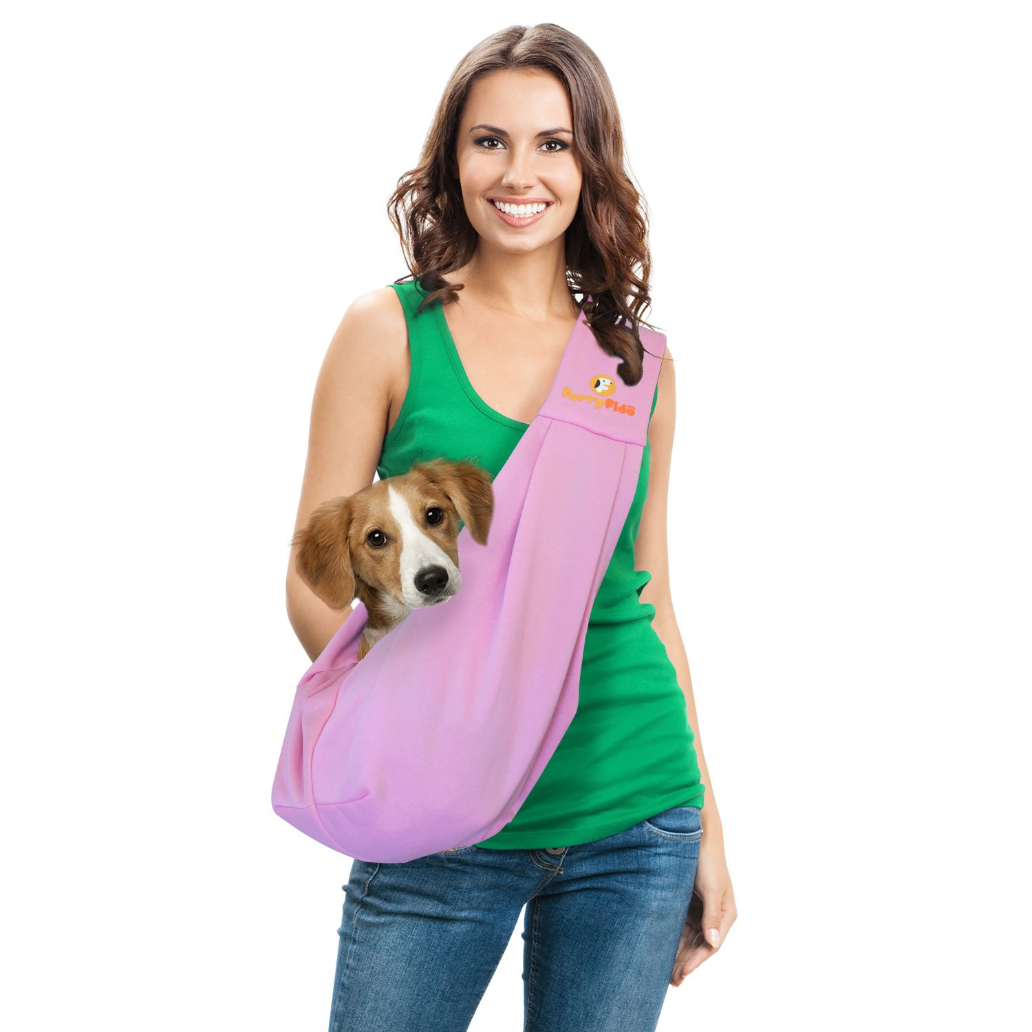 FurryFido Reversible Pet Sling Carrier for Cats Dogs up to 13+ lbs, Pink by FurryFido