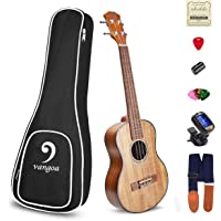 Ukulele Soprano Electric Ukulele KOA Wood Solid 21 inch Best Acoustic Ukelele Beginners Starter Kit, by Vangoa