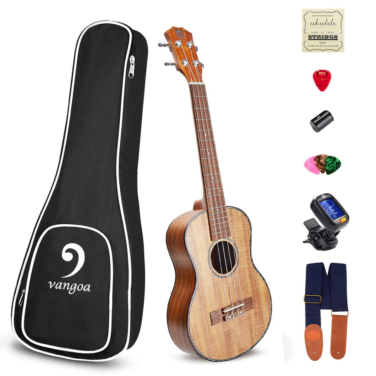 Concert Ukulele Acoustic KOA 23 Inch 4-string Ukulele Professional Vintage Ukelele with Beginner Kit, for Beginners, Kids, Starter, Amateur, by Vangoa