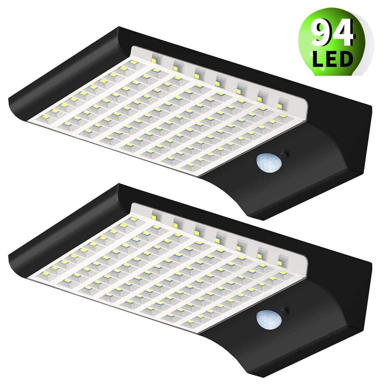Fortand Luce Solare Esterno 94LED 1500LM Lampada a Energia Solare con Sensore di Movimento,Luci Solari Impermeabile 3 Modalit/à per Giardino,Muro