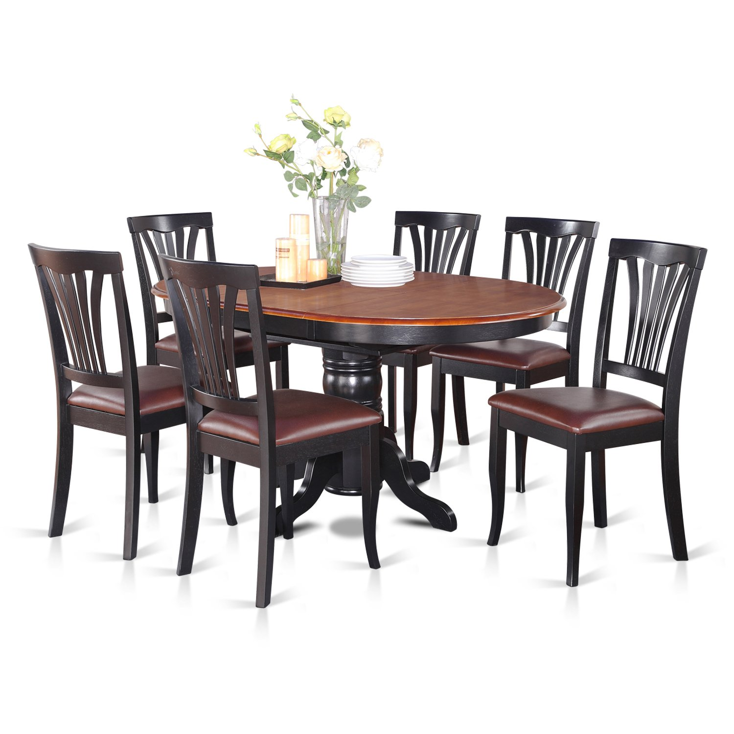 East West Furniture Dinette Table Set 6 Great Wooden Dining Chairs A Beautiful Round Dining Table Faux Leather Seat Cherry And Black Finnish Butterfly Leaf Round Wooden Dining Table Buy Online In