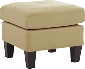 Glory Furniture Living Room Ottoman, Beige Faux Leather