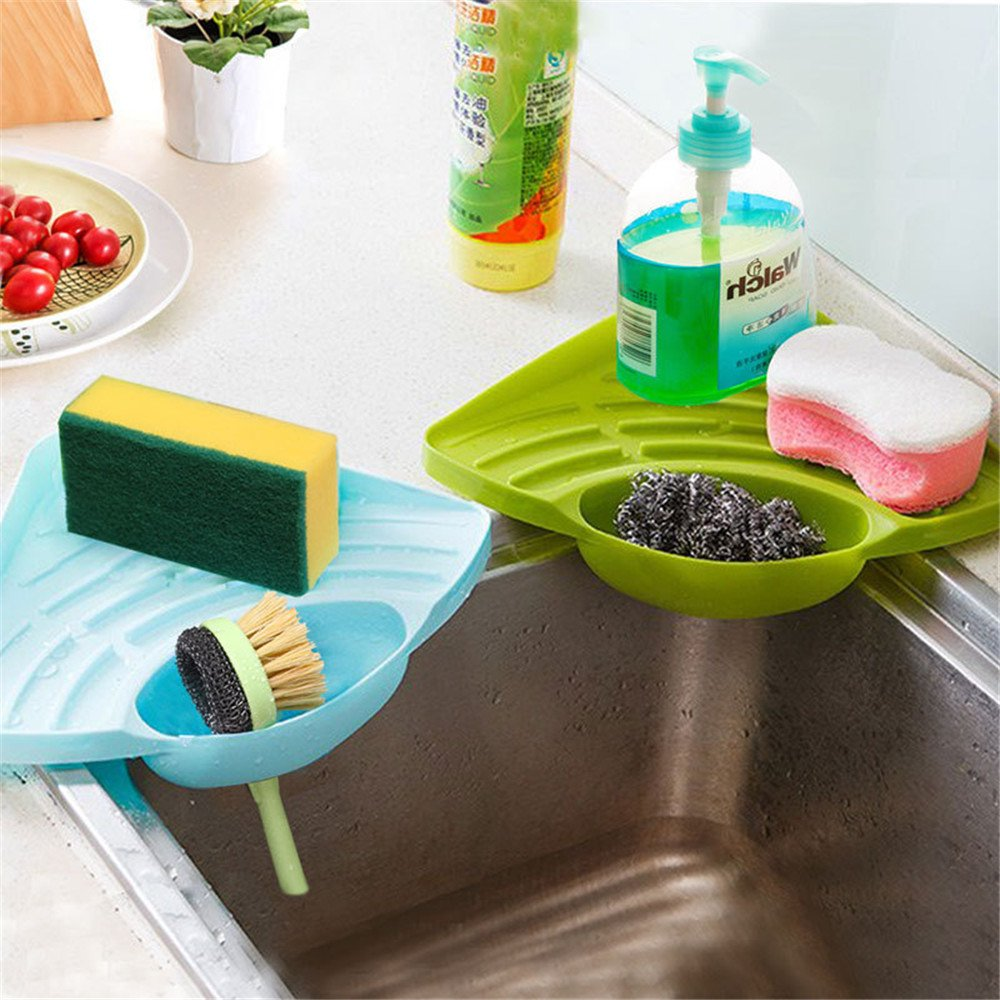 2Pcs Practical Kitchen Sink Corner Storage Rack Sponge Holder Wall Mounted tray kitchen organizer shelf accessories spice rack by TanQiang