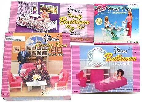 Amazon.com: Gloria:Barbie Doll House Furniture -Set of 4- Living ...